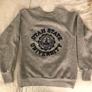 VINTAGE Sweatshirt Utah State Grey Small